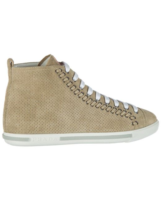 Prada Natural High Top Suede Sneakers