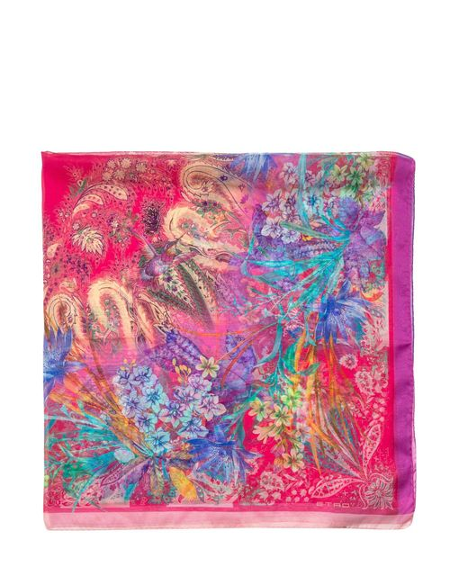 Etro Pink Bombay Floral Printed Scarf