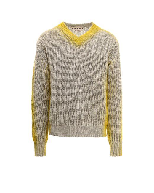 Marni Gray Wool Sweater for men
