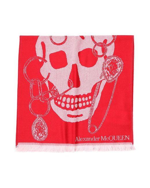 Alexander McQueen Red Skull Scarf