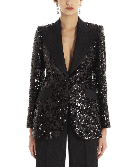 Dolce & Gabbana Black All-over Sequin Blazer
