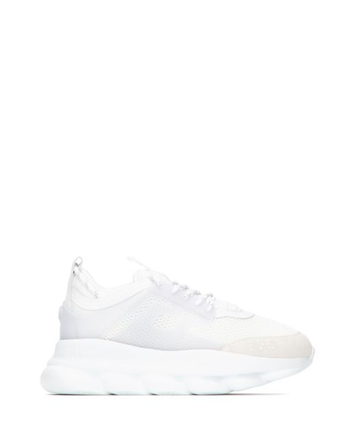 Versace Triple White Chain Reaction Trainers for men