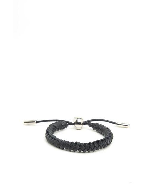 Alexander McQueen - Black Woven Leather Bracelet for Men - Lyst
