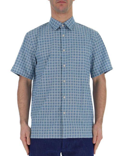 Prada Blue Patterned Short-sleeve Shirt for men