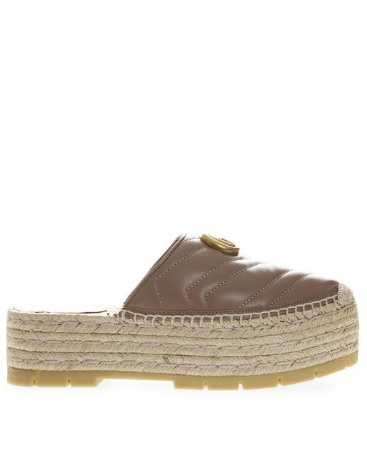 ce5cdadc82d Lyst - Gucci GG Platform Espadrille Mules in Brown