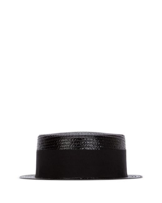 Saint Laurent Black Grosgrain Band Boater Hat