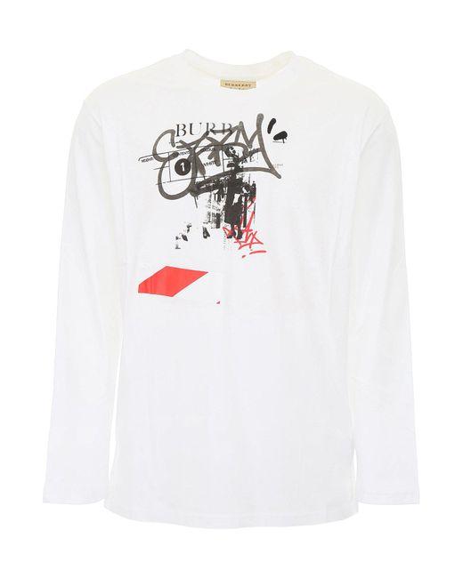 Burberry - White Logo Print Sweatshirt - Lyst