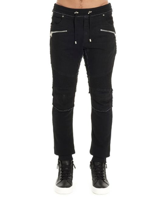 Balmain Black Distressed Biker Pants for men