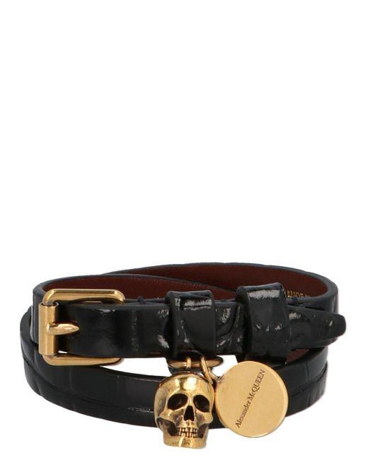 Alexander McQueen Black Skull Charm Wrap Bracelet