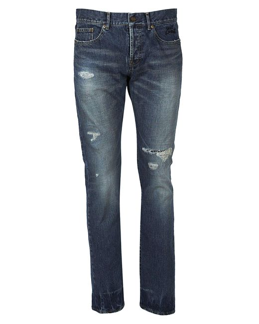 Saint Laurent - Blue Faded Ripped Jeans - Lyst