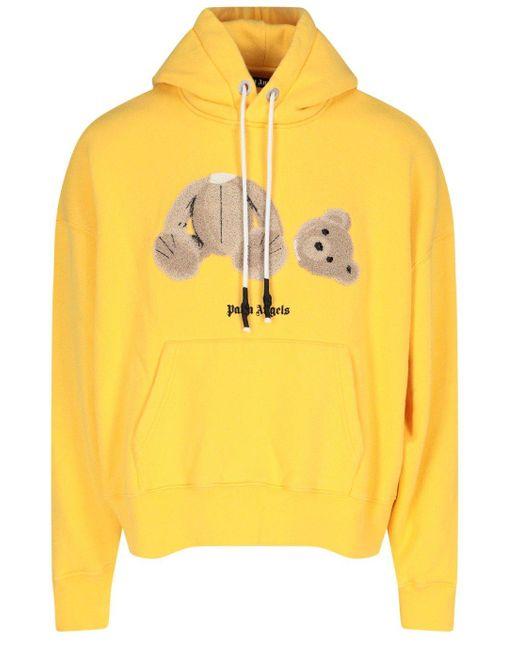 Palm Angels Yellow Teddy-bear Print Hoodie for men