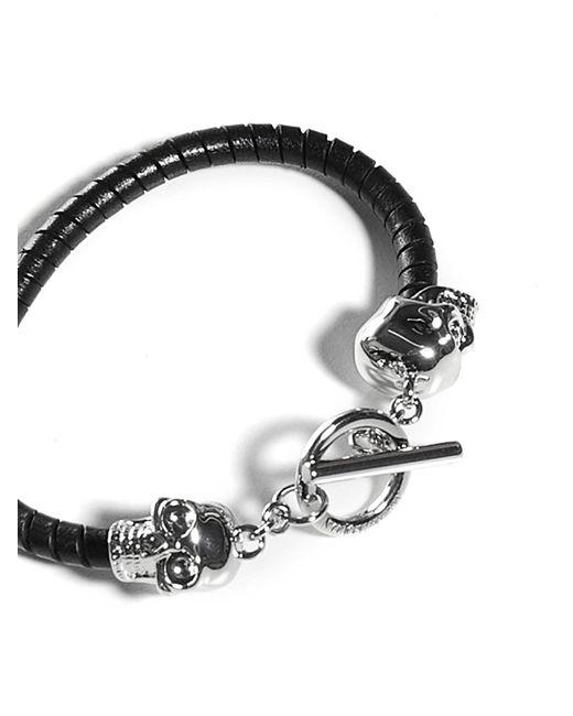 Alexander McQueen Black T-bar Skull Bracelet for men