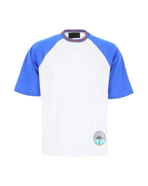 Prada Blue Patchwork Detail T-shirt for men