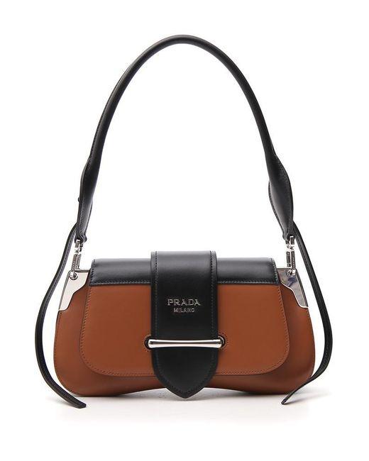 47917e549d5748 Lyst - Prada Buckle Strap Shoulder Bag in Brown