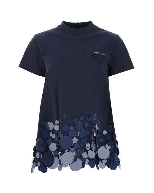 Prada Blue Logo Patch Sequin Detail T-shirt
