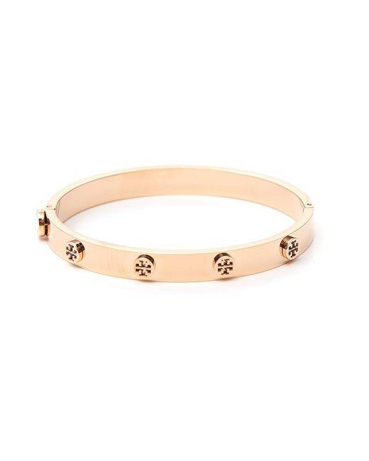 Tory Burch - Pink Logo Stud Hinge Bracelet - Lyst