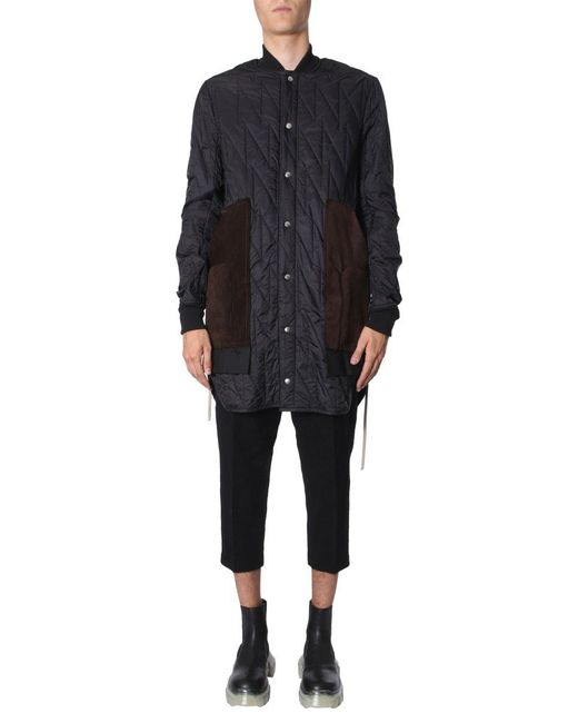 Rick Owens Black Quilted Long Coat for men