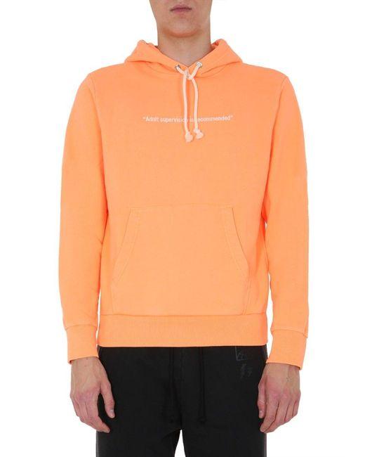 DIESEL Orange Drawstring Hoodie for men