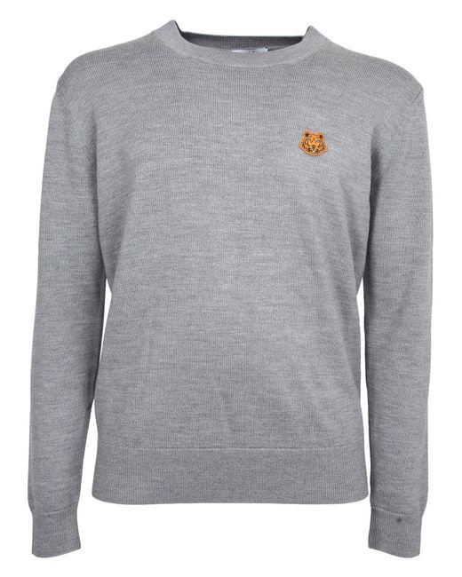 KENZO Gray Tiger Crest Knitted Jumper for men