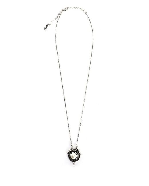 Saint Laurent - Metallic Pearl Embellished Necklace - Lyst