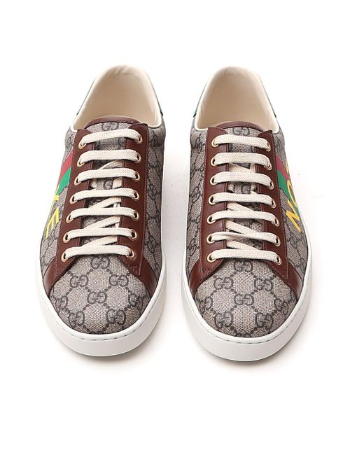 Gucci Natural 'fake/not' Print Ace Sneaker for men