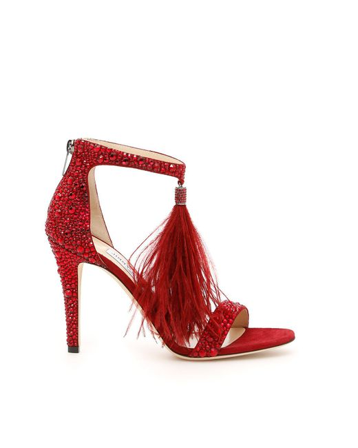 Jimmy Choo - Red Viola 100 Sandals - Lyst