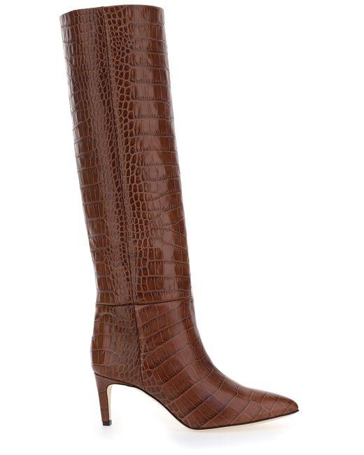 Paris Texas Brown Knee-high Embossed Boots