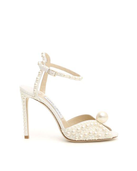 Jimmy Choo White Sacora 100 Satin Pearl Sandals