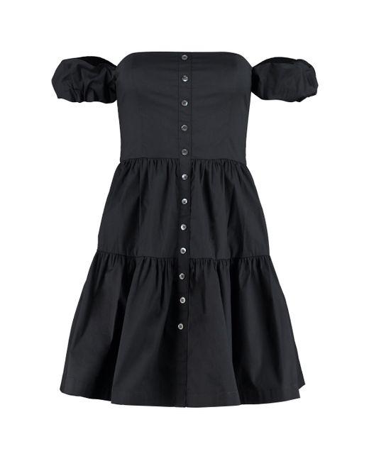 Staud Black Elio Off-shoulder Mini Dress