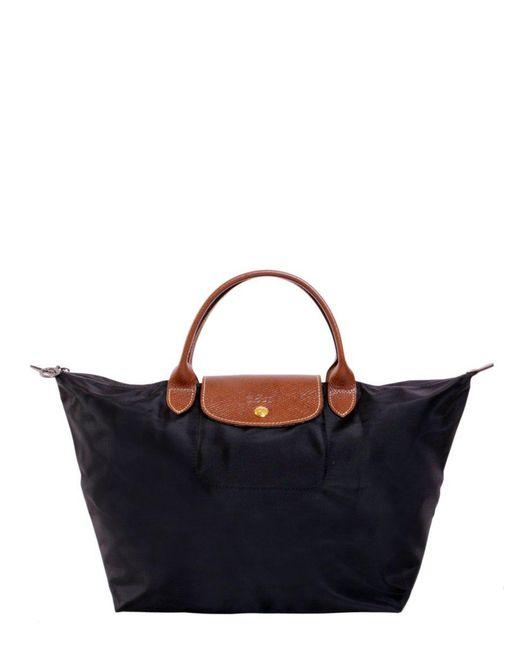 Longchamp Black Le Pliage M Top Handle Bag