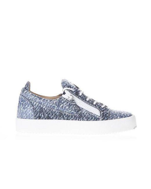 52fdd2b721d Lyst - Giuseppe Zanotti Denim Effect Low Top Sneakers in Blue for Men