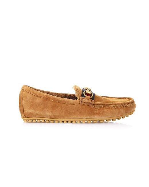 Gucci - Brown Shearling Horsebit Loafers for Men - Lyst