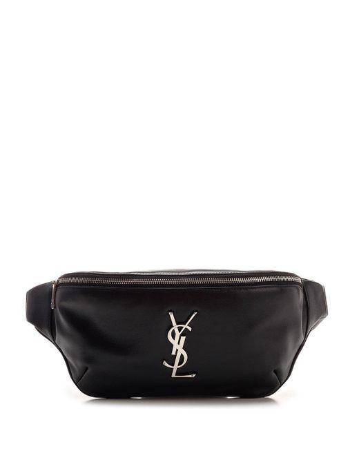 Saint Laurent Black Classic Monogram Belt Bag for men