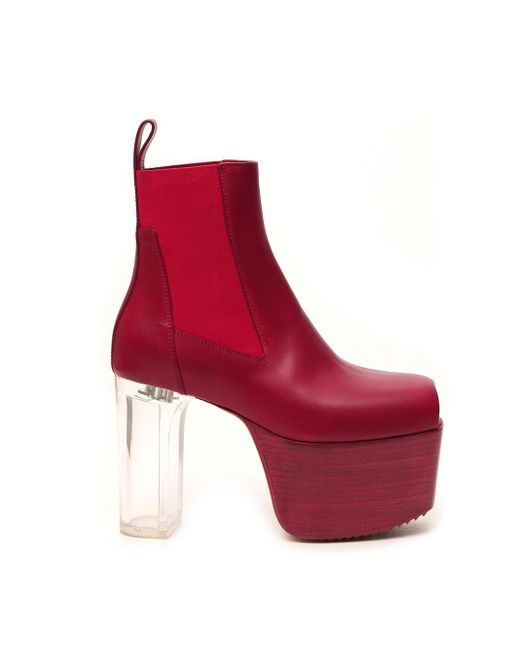 Rick Owens Red Phlegethon Open-toe Heeled Boots