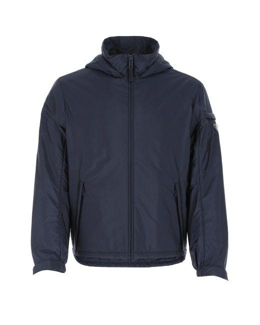 Prada Blue Logo Hooded Jacket for men