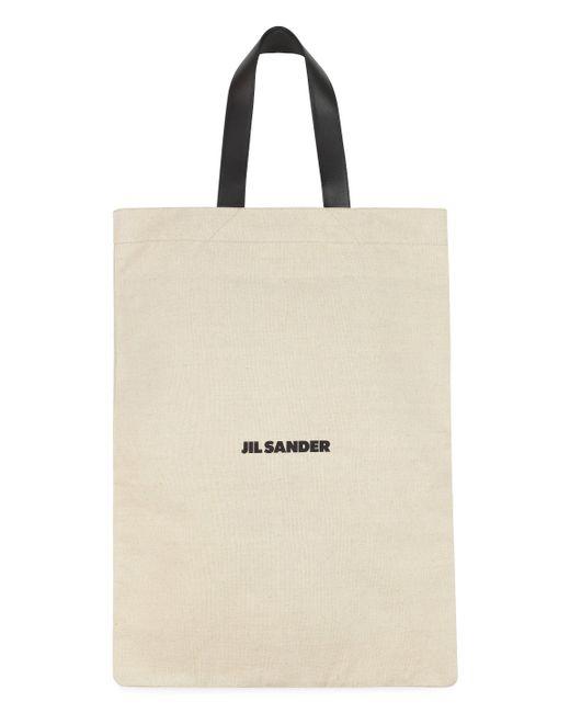 Jil Sander Natural Logo Printed Large Shopper Tote Bag
