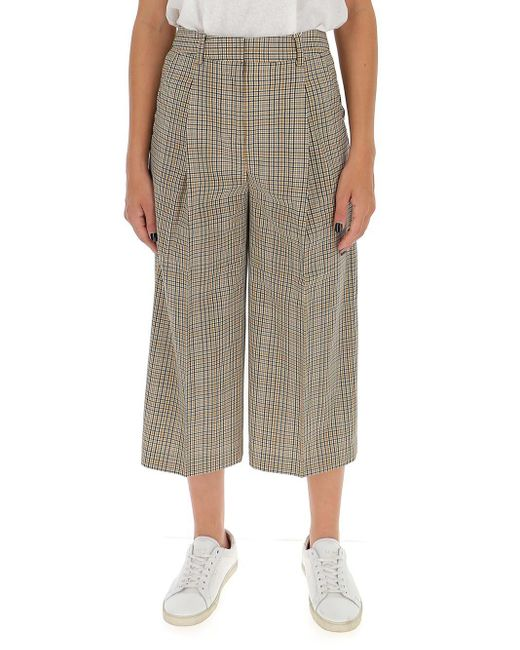MICHAEL Michael Kors Brown Checked Wide-leg Trousers