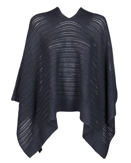 Agnona Blue Knitted V-neck Poncho