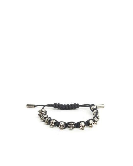 Alexander McQueen - Black Braided Leather Skull Bracelet for Men - Lyst