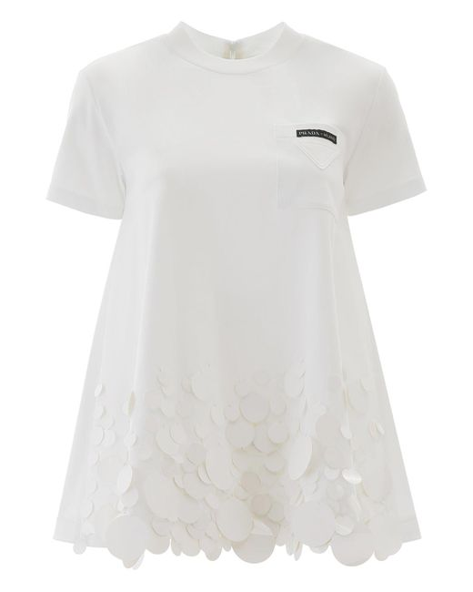Prada White Lace Trim Short Sleeved Top