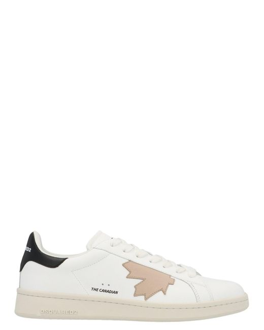 DSquared² White Maple Leaf Patched Sneakers