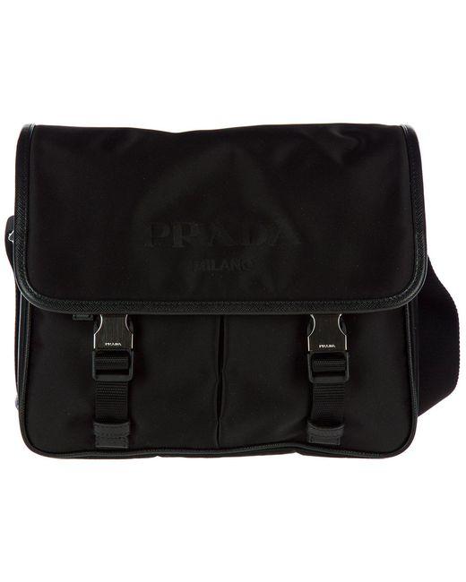 43811e0ddf1d Prada Buckled Messenger Bag in Black for Men - Lyst