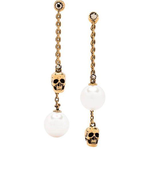 Alexander McQueen Metallic Pearl-embellished Skull Pendant Earrings In Gold