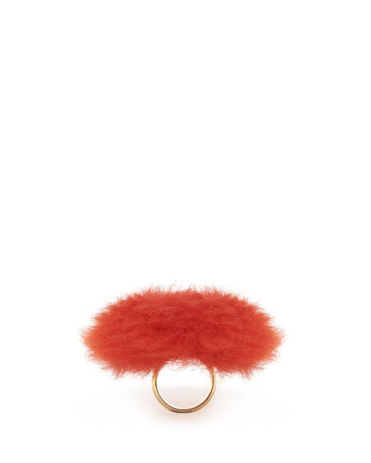 Balenciaga - Red Fur Ring - Lyst