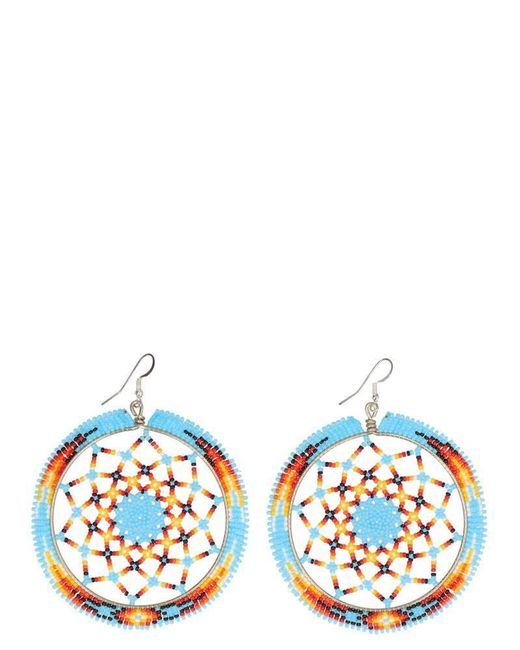 Jessie Western Blue Beaded Wheel Earrings