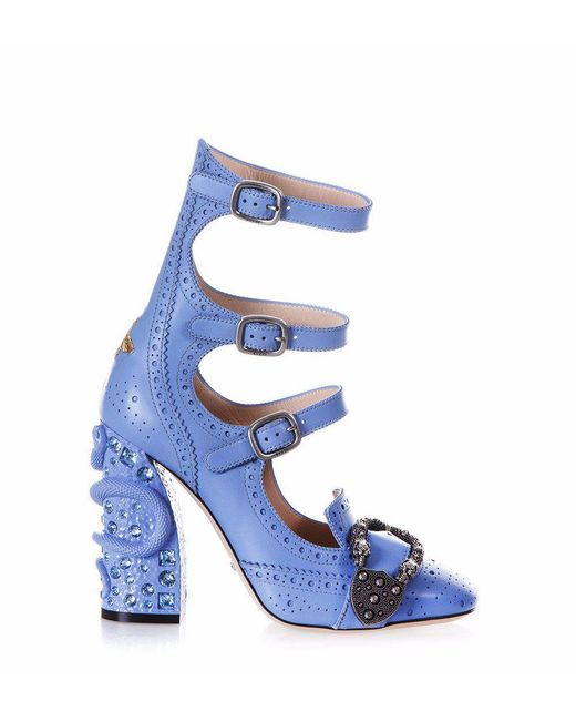 Gucci Blue Queercore Buckle Heeled Pumps