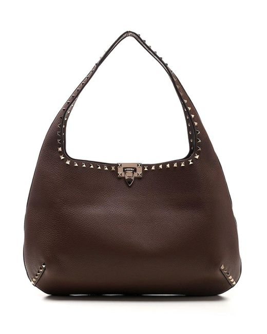 Valentino Garavani Brown Garavani Rockstud Hobo Shoulder Bag