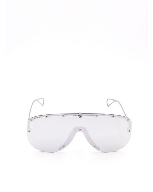 Gucci Metallic Oversized Mask Sunglasses