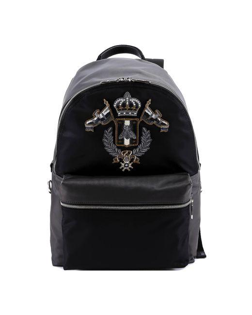 Dolce & Gabbana Black Patch Detail Backpack for men