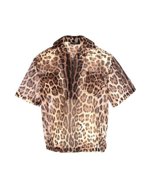 Dolce & Gabbana Brown Leopard Print Short-sleeve Shirt for men